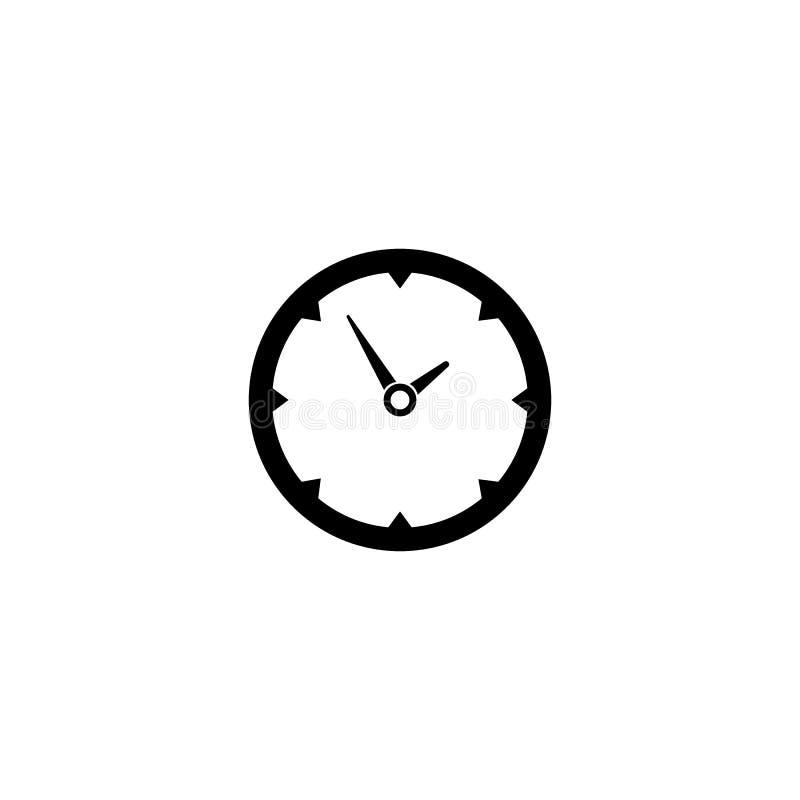 Klokpictogram in in vlakke die stijl op achtergrond wordt geïsoleerd De paginasymbool van het klokpictogram voor uw embleem van h stock illustratie