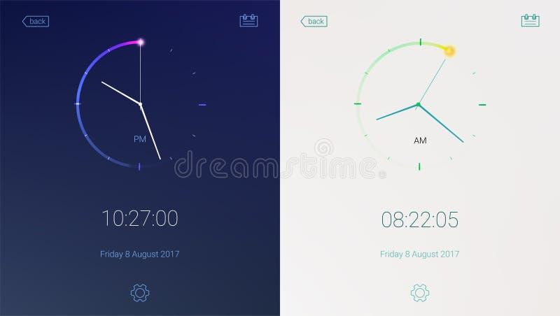Kloktoepassing op lichte en donkere achtergrond Concept UI-ontwerp, dag en nacht varianten Digitale aftelprocedure app stock illustratie