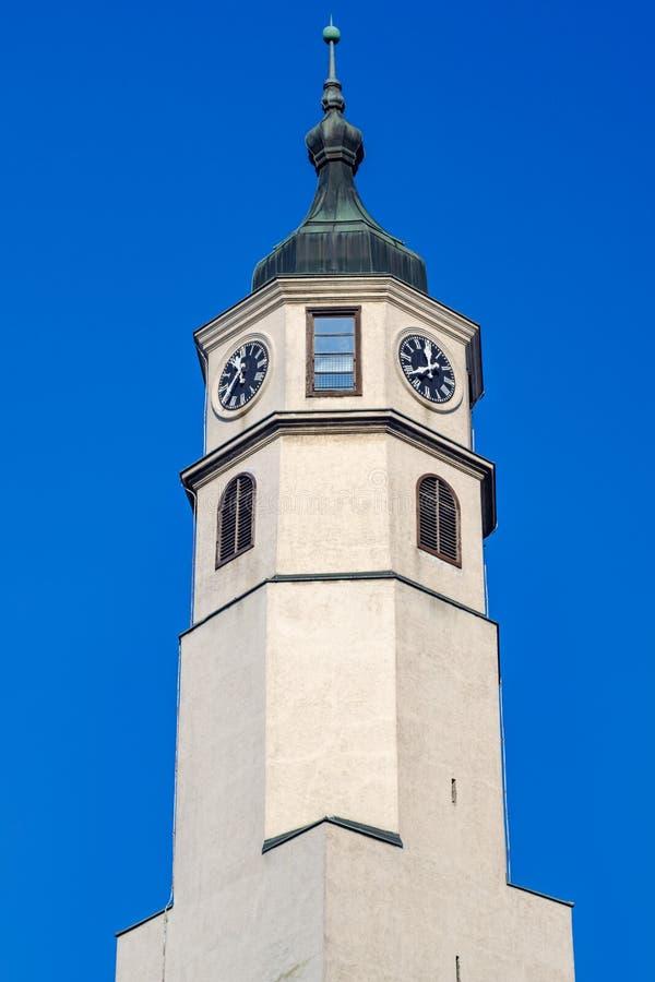 Kloktoren, Sahat kula, bij de Belgrado Fortress Kalemegdan in Belgrado, Servië stock afbeeldingen