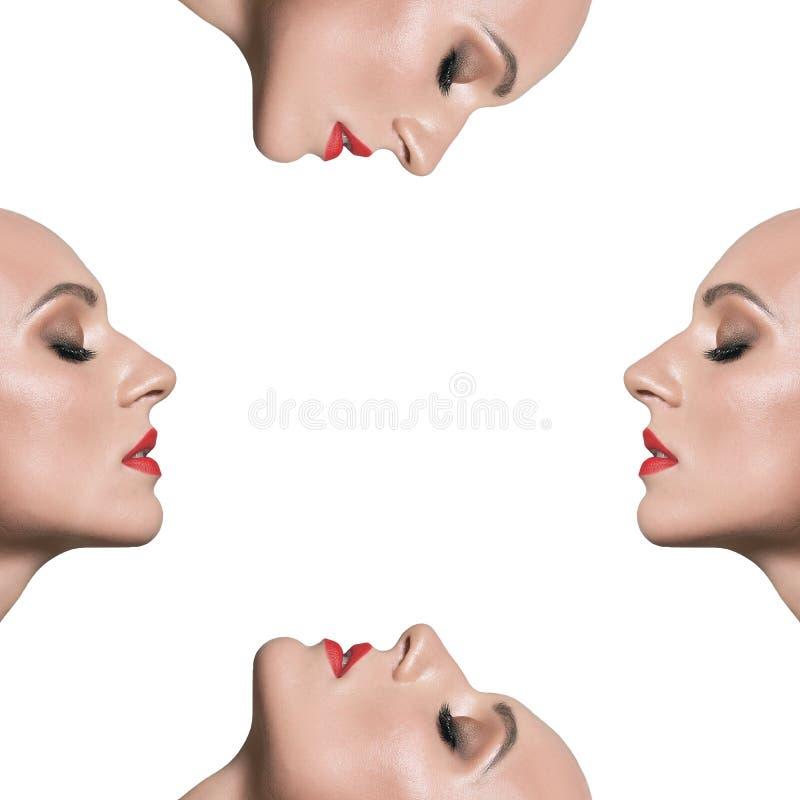 Klon av en kvinna på en vit bakgrund maskering Mannen i profil fotografering för bildbyråer