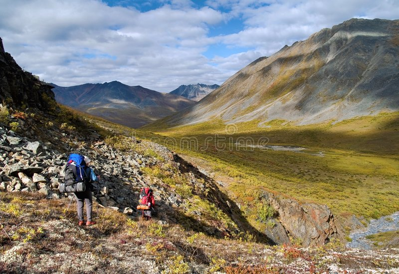 Klondike hikers royalty free stock photos
