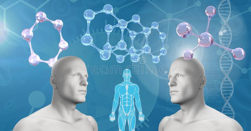 Klondoppel-Männer 3D mit genetischer DNA stock abbildung