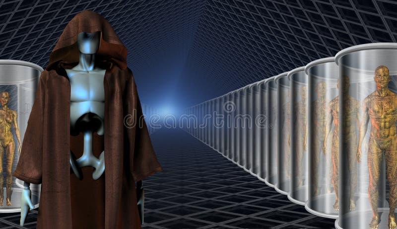 Klonen en hun robotbewaarders vector illustratie