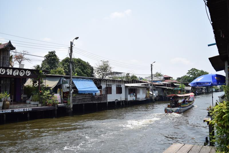 Klong Bang Luang, Bangkok Thailand. Is a river market. Full of Thai culture at The Artist house stock photography