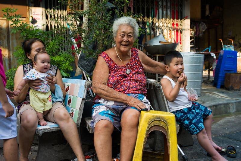 Klongtoey Slum. Happy family at Klongtoey slum in Bangkok, Thailand royalty free stock photo