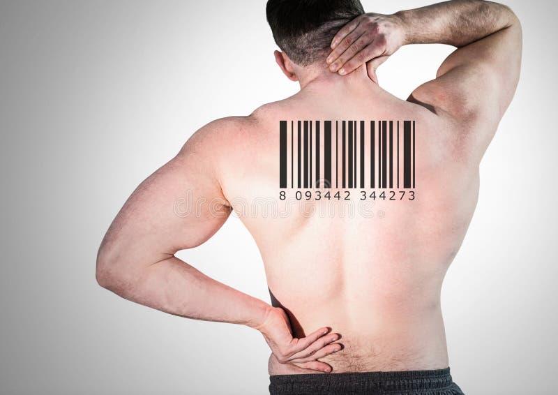 Klonman i rad med barcoden på baksida royaltyfri foto