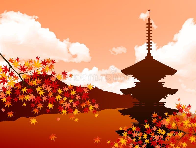 Klonowi jesień liście Japonia ilustracja wektor