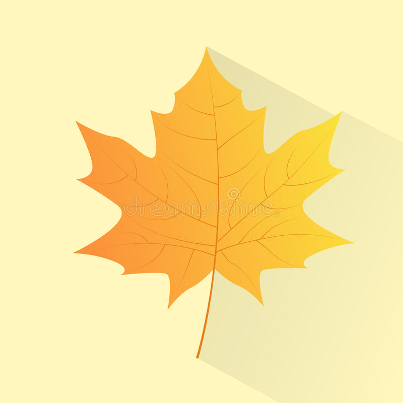 Klonowy Żółty liść ręki remisu koloru ikony wektor ilustracja wektor