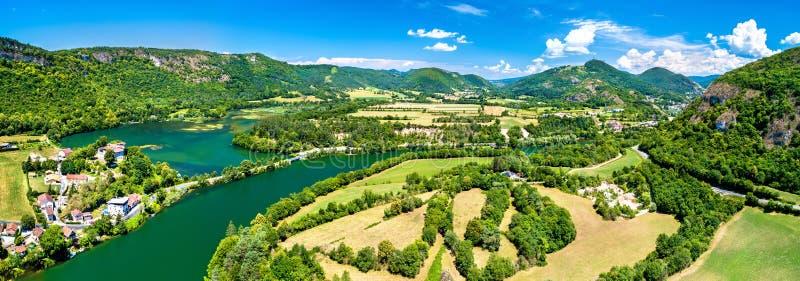 Kloof van de rivier van Ain in Frankrijk stock afbeeldingen