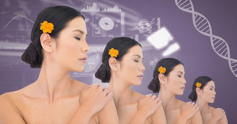 Kloon Aziatische vrouwen met genetische DNA stock fotografie