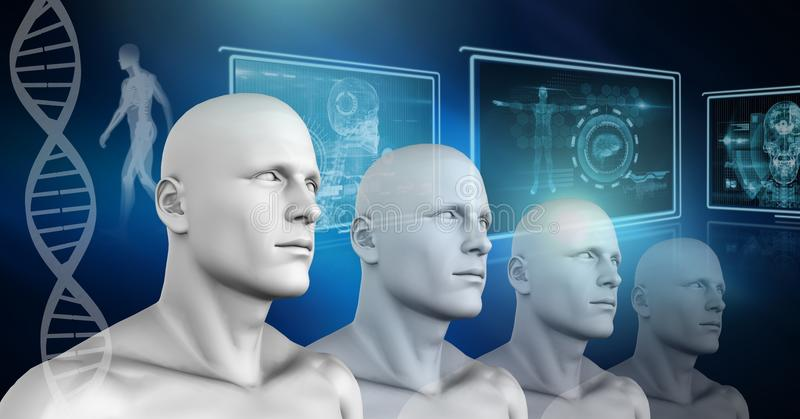 Kloon 3D mensen met genetische DNA vector illustratie
