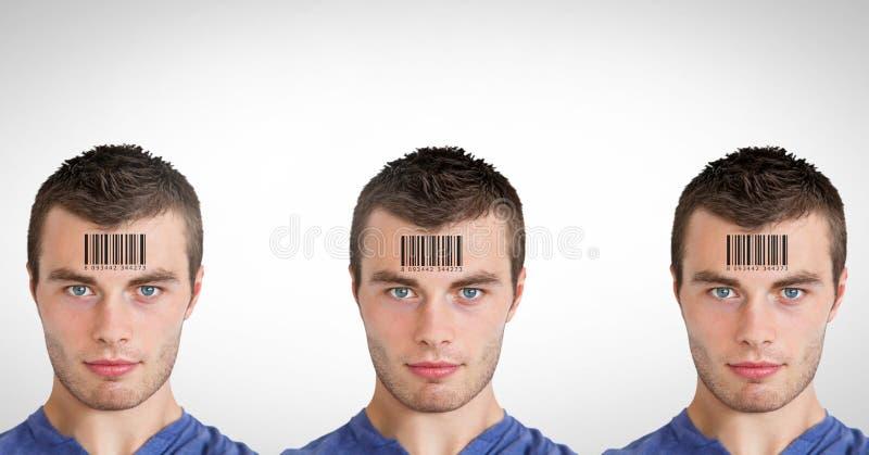 Kloonmensen in rij met streepjescodes stock foto's