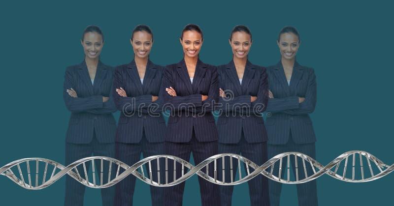 Kloonvrouwen met genetische DNA stock afbeelding