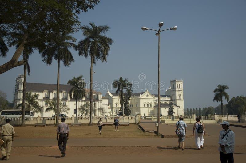 Klooster en Kerk van St Francis van Assisi - Roman Catholic-kerk die in hoofdvierkant van Oude Goa wordt gesitueerd India, Goa -  stock afbeeldingen