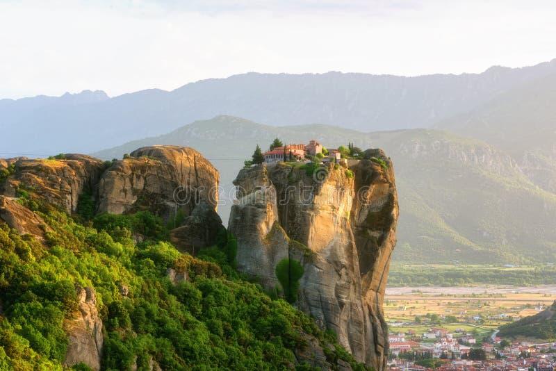 Klooster Heilige Drievuldigheid, Meteora, Griekenland De Plaats van de Erfenis van de Wereld van Unesco stock afbeeldingen
