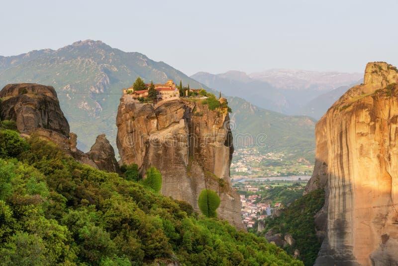 Klooster Heilige Drievuldigheid, Meteora, Griekenland De Plaats van de Erfenis van de Wereld van Unesco stock foto