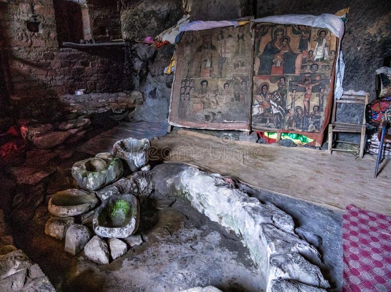 Klooster Neakuto Leab dichtbij Lalibela in Ethiopi? stock fotografie