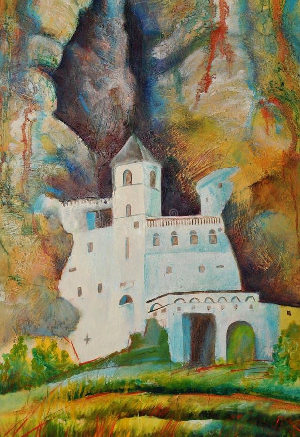 Klooster Ostrog royalty-vrije illustratie
