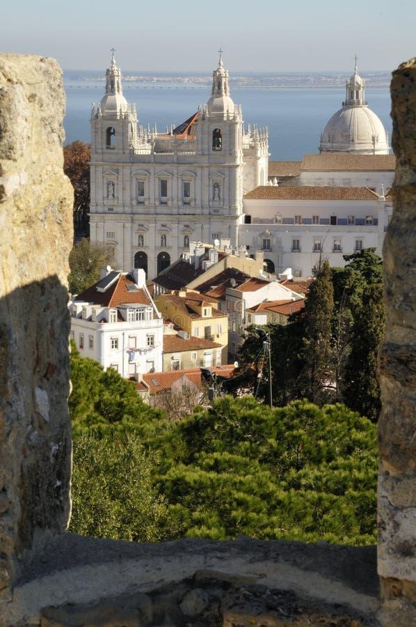 Klooster Sao Vicente DE Fora, Kasteel van Lissabon stock foto
