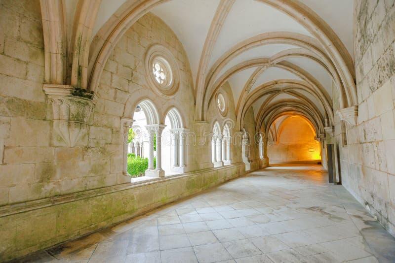 Klooster van Alcobaca-gang stock afbeeldingen