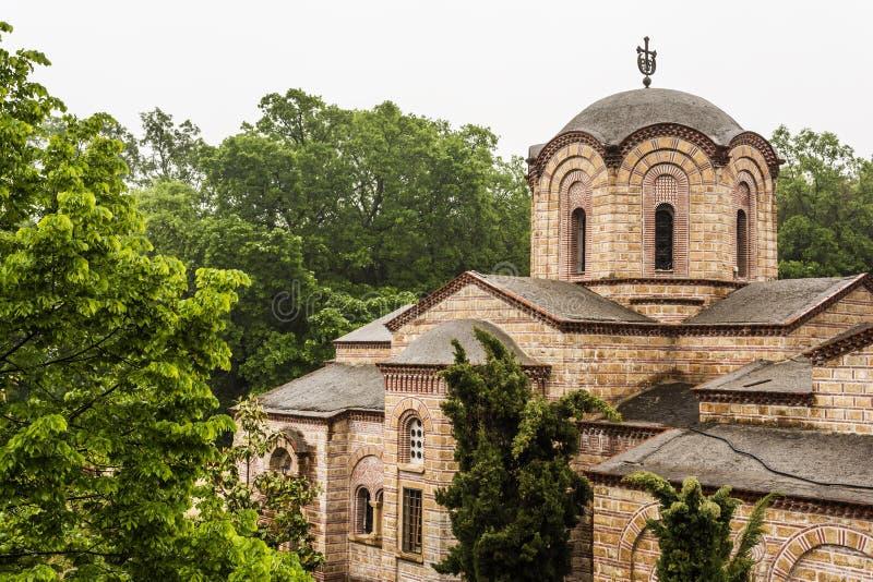 Klooster van Heilige Dionysios van Olympus stock foto