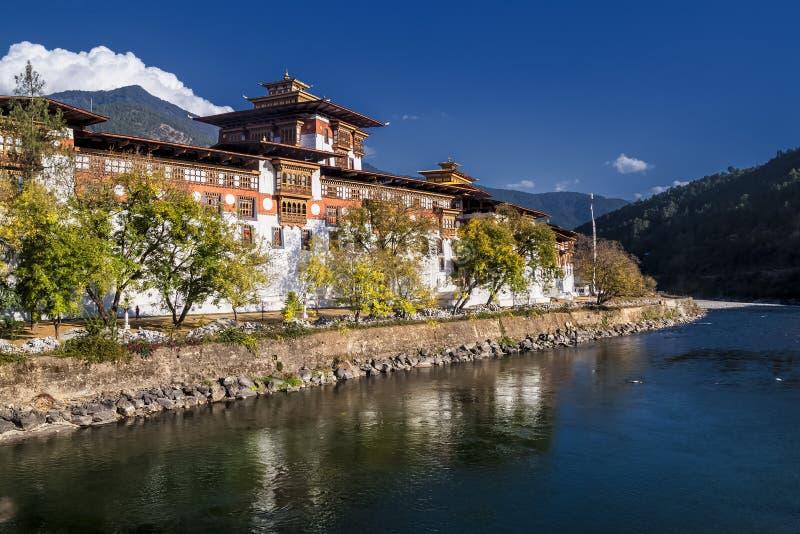 Klooster van Punakhadzong, één van het grootste klooster in Azië, Punakha, Bhutan stock fotografie