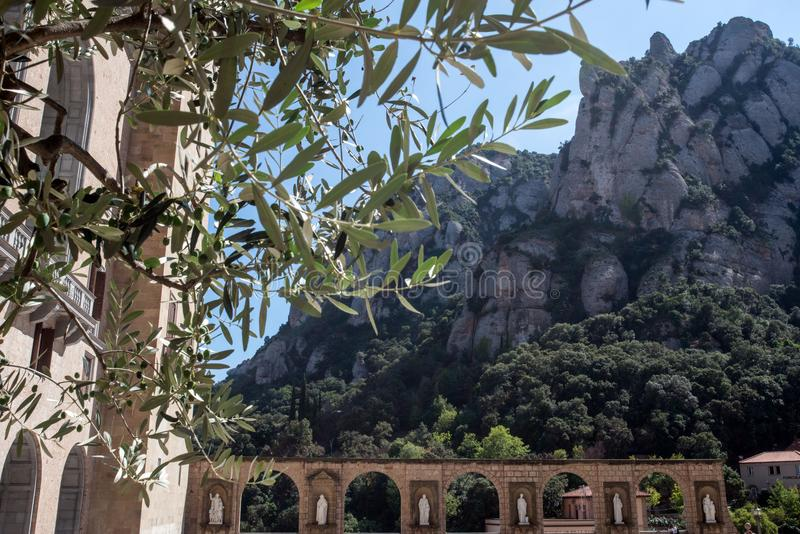 Klooster van Santa Maria de Montserrat Mening van Monserat van klooster Barcelona, Catalonië, Spanje stock foto's