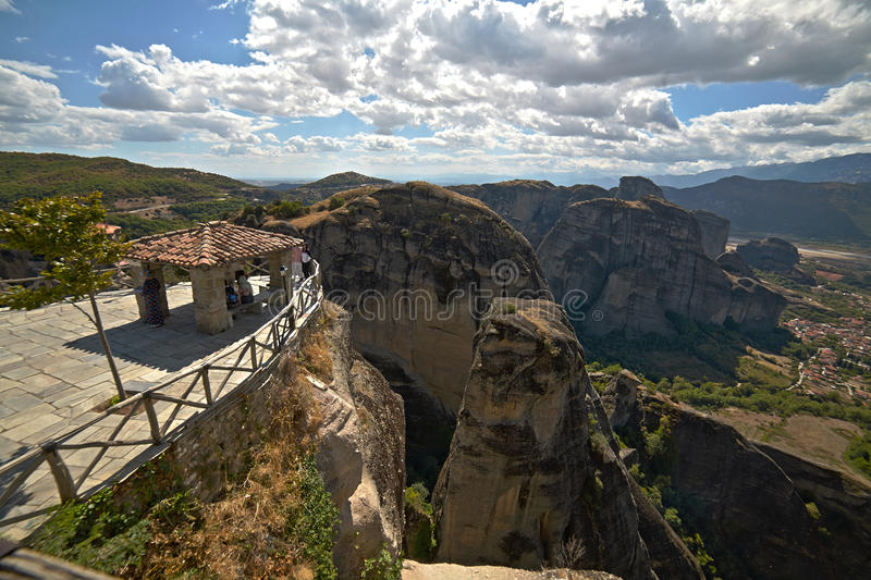 Klooster van St Barlaam in het gezichtspunt van Griekenland stock foto