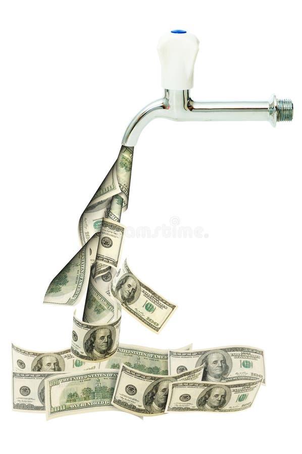 Klopfen Sie mit den Dollar heraus fließend lizenzfreie stockfotos