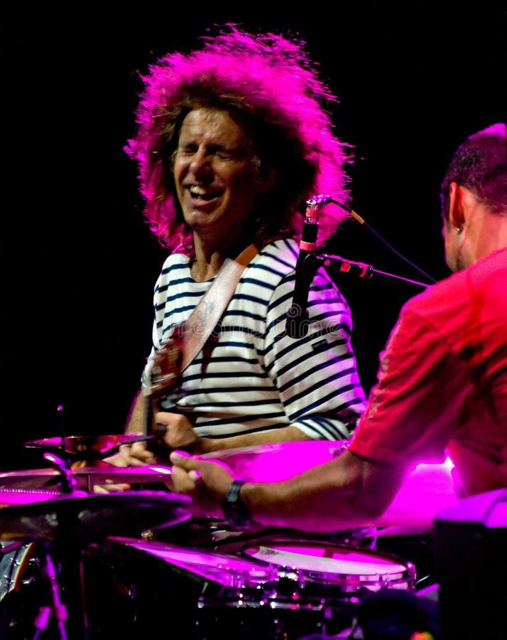 Klopje Metheny en Antonio Sanchez bij de Jazz van Umbrië royalty-vrije stock afbeeldingen