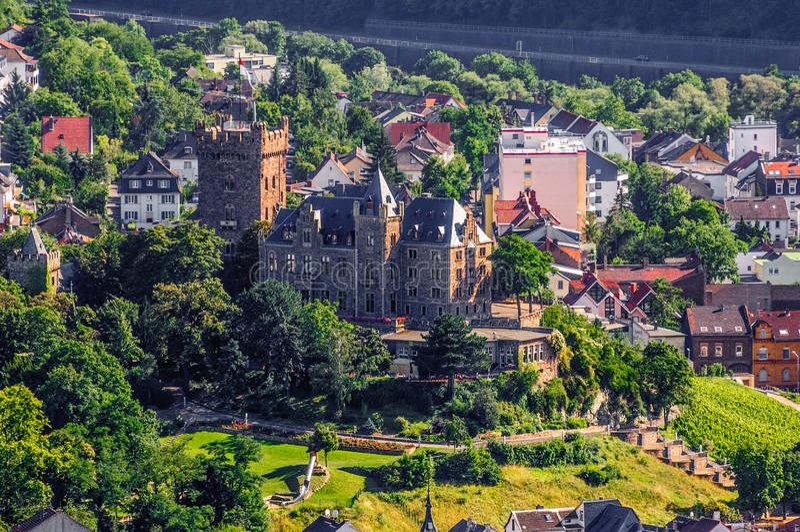 Klopp-Schloss in Bingen morgens Rhein, Rheinland-Pfalz, Deutschland stockfoto