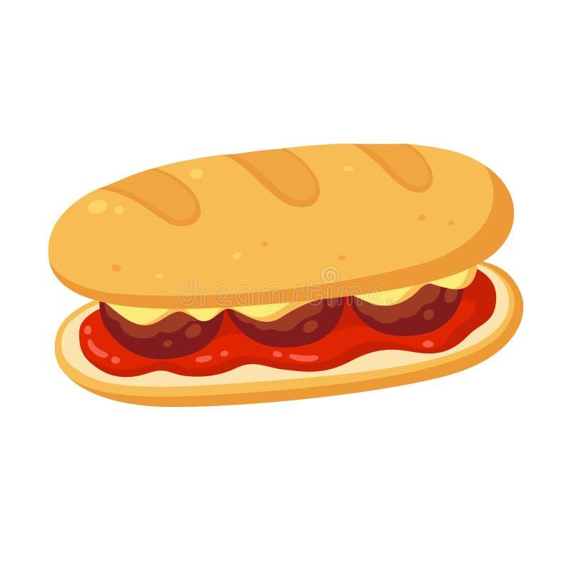 Klopsika okrętu podwodnego kanapka ilustracji