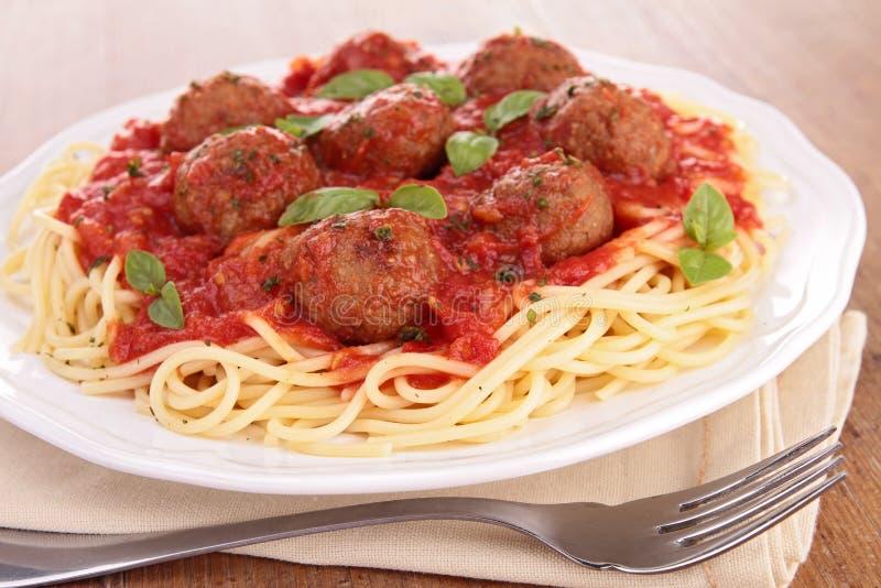 Klopsiki i spaghetti obraz royalty free