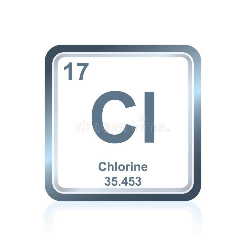 Klor för kemisk beståndsdel från den periodiska tabellen royaltyfri illustrationer