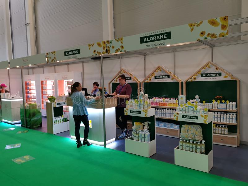 Klorane stand at  Baby Boom Show 2019, Bucharest, Romania royalty free stock photo