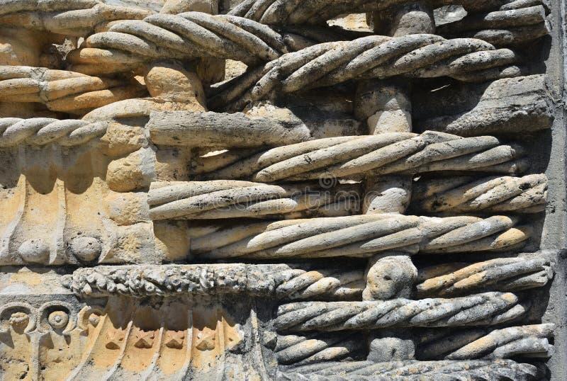 Kloster av beställningen av Kristus i Tomar Portugal, stendetalj arkivbild