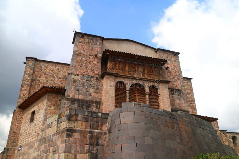 Kloster av Santo Domingo Church Built över Coricancha, templet av solen av incasna, Cusco, Peru arkivfoto