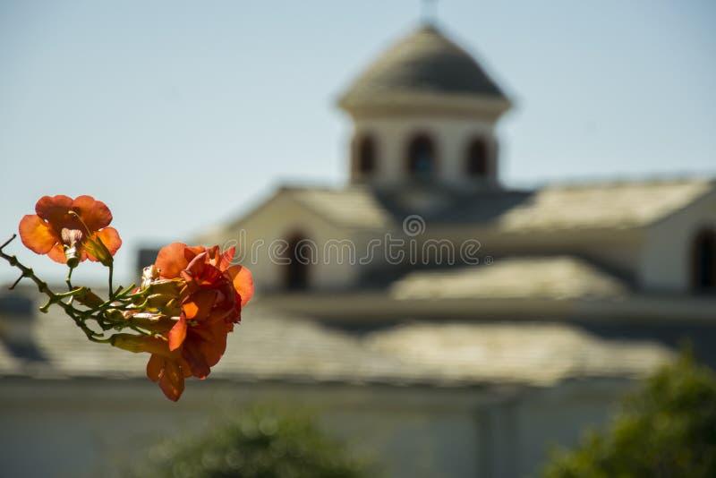 Kloster in einer griechischen Insel, Thasos lizenzfreies stockbild