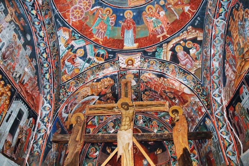 Kloster Hilandar, medeltida iconography royaltyfria bilder