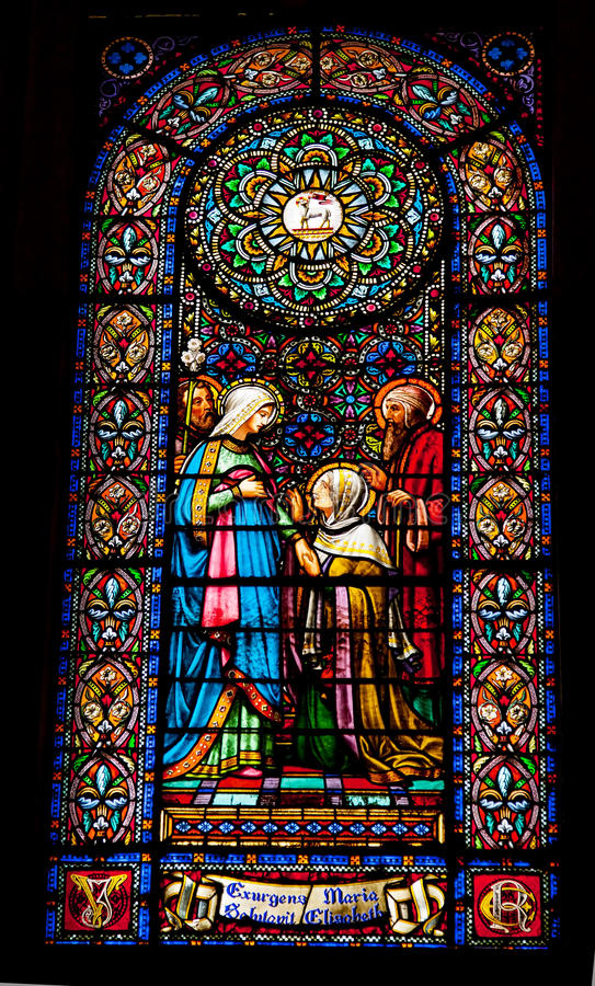 Kloster Montserrat Katalonien Spai Buntglas-Marys Elizabeth stockfotografie