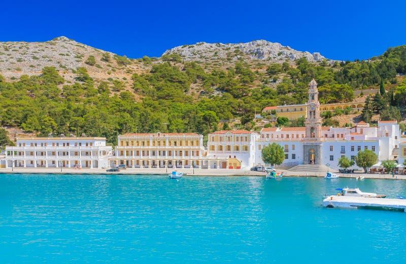 Kloster Panormitis Symi ö Grekland royaltyfri bild
