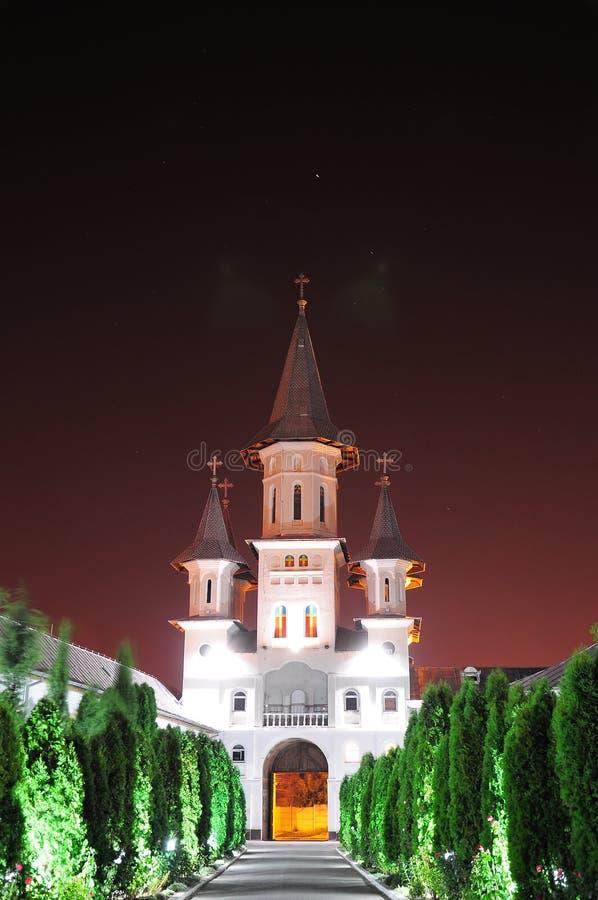KlosterRumänien Oradea transilvania i natten royaltyfri fotografi