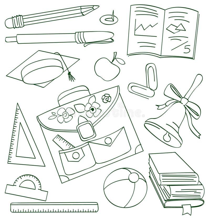 klotteröversiktsskola stock illustrationer