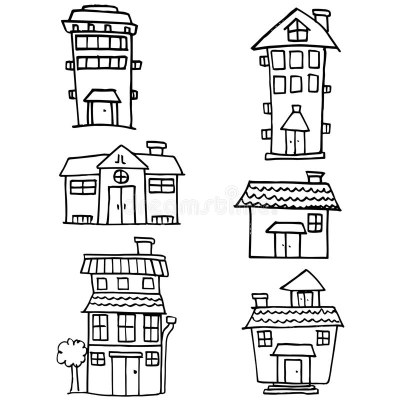 Klotter av attraktion för husstilhand royaltyfri illustrationer