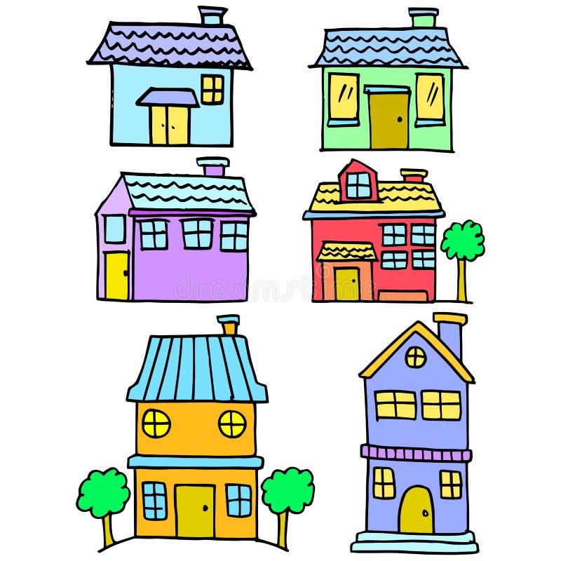 Klotter av den färgrika uppsättningen för husstil royaltyfri illustrationer