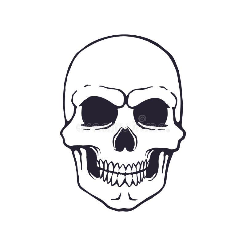 Klotter av den mänskliga onda skallen stock illustrationer