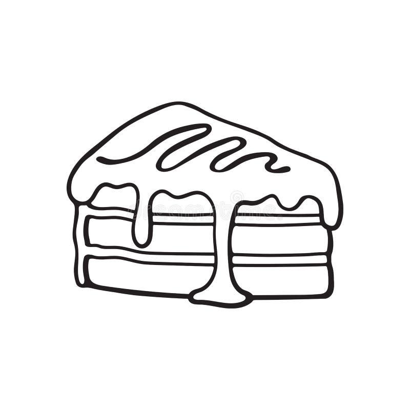Klotter av ett stycke av kakan med kräm och sirap vektor illustrationer