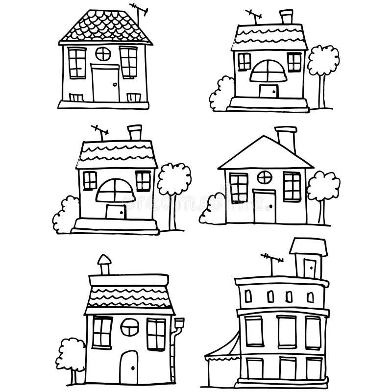 Klotter av husuppsättningstil vektor illustrationer