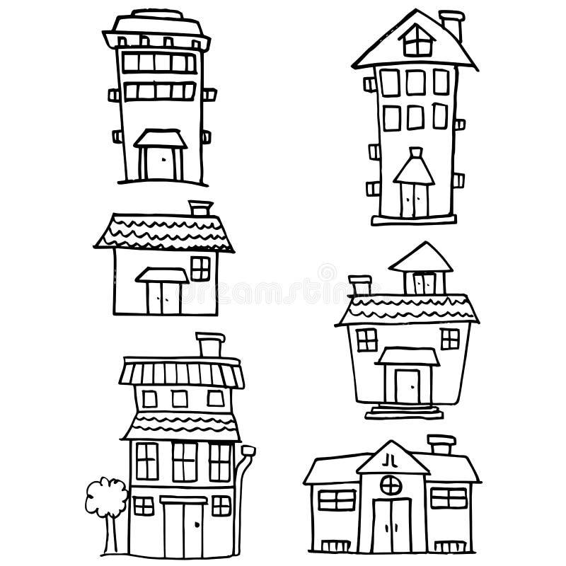 Klotter av husuppsättningstil stock illustrationer