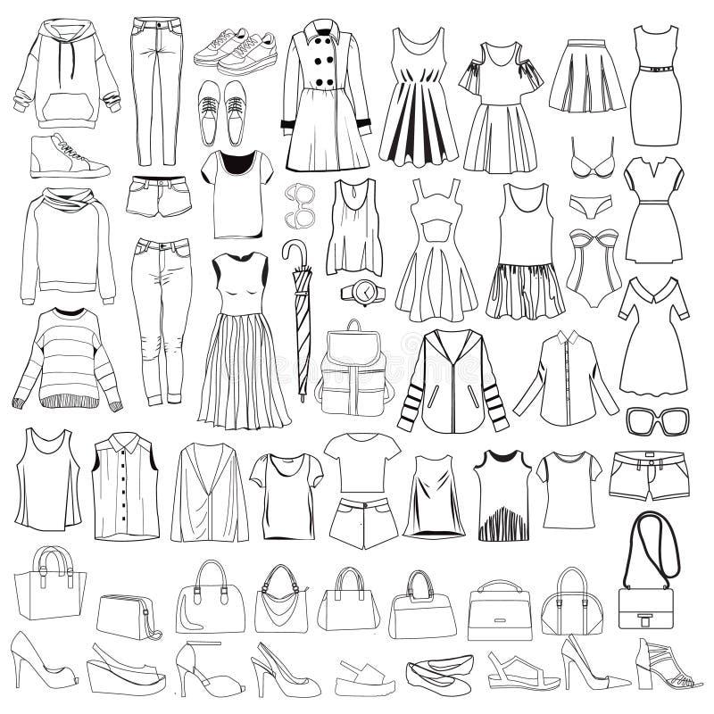 Klotter av kläder för trendiga kvinnor och tillbehör, dragen hand stock illustrationer